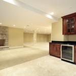basement bar and fireplace idea
